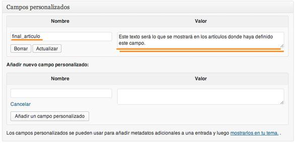ejemplo campo personalizado WP
