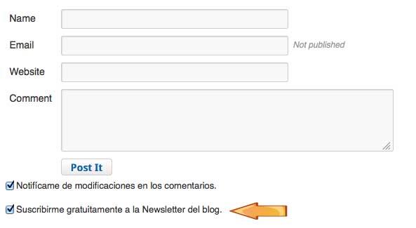 suscribirse a la newsletter desde comentarios