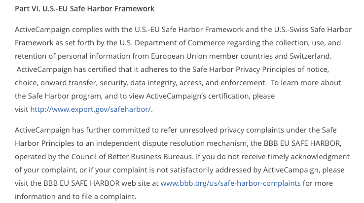 active campaign cumple safe harbor